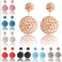 ball small - Shamballa Crystal Ball Double Sided Stud Earring Big And Small Two Pearl Jewelry Women Fashion Earring studs