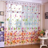 Wholesale Min mix Order Pastoral warm romantic curtains living room balcony butterfly gauze BT0017