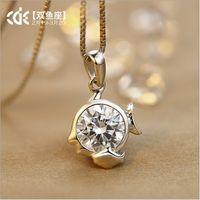 South American swarovski - Hot Sale constellation Zodiac clavicle chain short necklace Lovers jewelry Swarovski gems necklace