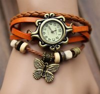 Wholesale Hot Sale Women Retro Leather Butterfly Quartz Wrist Bracelet Watch Colors Optional New