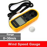 Wholesale LCD Display Digital Handheld Wind Speed Gauge Meter Measure Anemometer Thermometer range of effective m s MPH