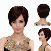sexy wig - 2015 MAYSU Human Hair Wigs Women Lady Sexy Chestnut Brown Short Wigs With Inclined Bangs MMJ2