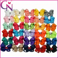 grosgrain ribbon - 30 Wholesaler inch Baby Girls Solid Grosgrain Ribbon Hair bows With Alligator Clips CPSIA items