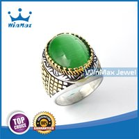 emerald ring - Winmax Vintage big emerald agte stone cocktail ring for men fashion jewelry made of stainless steel Christmas gift