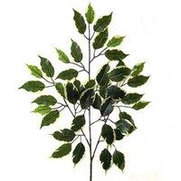 artificial ficus - New Promotion Real Artificial Flowers Decoration cm Artificial Variegated Ficus Branch Decorative Plastic Plant foliage