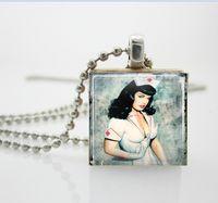 bettie page - Necklaces Pendants Vintage Bettie Page Sexy Nurse Necklace Scrabble Tile Pendant Ball Chain Necklace AA