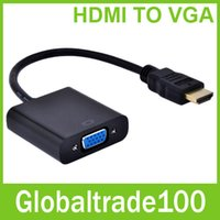 Wholesale 1080P HDMI To VGA Cable Video Converter Adapter Converter Male To Female Built in Chipset With Package Free DHL