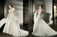 Cheap 2015 A Line Demetrios Wedding Dress 1431 One Shoulder Lace Appliques Beads Crystals Feathers Tulle Backless Sweep Train Vestido Bridal Gowns