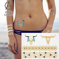 art bulls - Hot Sale Gold Tattoo Fashion Temporary Flash Tattoo Stickers Body Art Waterproof Tattoo Bull Pattern