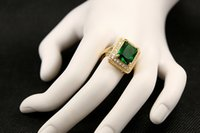emerald ring - Delicate Pave Big Faceted Emerald Green CZ Cocktail Rings in Cushion Setting Solitaire Square Cubic Zironia Dinner Rings Gold