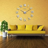 Wholesale Modern Home Decor Decoration Large Roman Numbers Mirror Quartz Clocks Living Room DIY Wall Clock watch with Retail Package