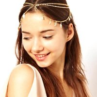 Wholesale 2015 Lowest Price Bohemian Women s Peal Tassel Head Chain Jewelry Forehead Dance Headpiece Hair Band Hair Chains For Women CPA190