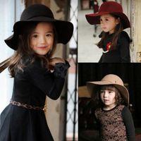 Wholesale Cute Summer Girl Wool Felt Hats Childrens Vintage Wide Brim Beach Caps Kids Sun Hats EKO