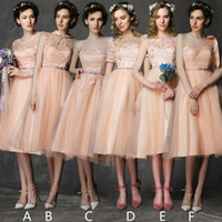 chiffon tea length bridesmaid dresses - Multi Options Six style High Quality Bridesmaid Dresses Lace Tea Length Formal Dresses Chiffon Dresses Zipper A Line Formal Evening Gowns