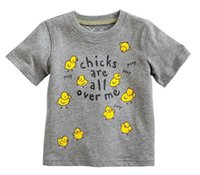 Boy chicken - 2014 Summer Children Boys Short Sleeve T Shirts Cotton Yellow Chicken Printed Shirt Undershirt Girls Kids Childs Clothes Gray M1601