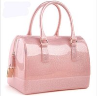 silicone handbags - Women Ladies silicone furly jelly f handbag famous brand beach bag candy bags purses high quality totes