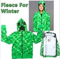 Wholesale Retail Thicken Creeper Hoodie MINECRAFT Hoodie Creeper Coat Creeper jacket Europe and US for kids T Boys fall winter clothing