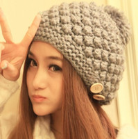 ball shag - New Super Ball Shag Line Decorative Buttons Caps Winter Knitted Hats For Women Multi Color