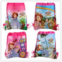 Wholesale new fashion sofia the first girl favorite carttoon mix Hans non woven string backpack pouch for kids children s gift school bag