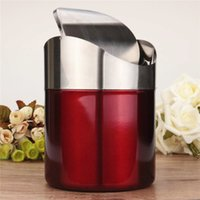 Wholesale New Arrival OvervalueRed Color Stainless Steel Trash Bin1 L Mini Car DustBin Swing Lid Kitchen Worktop Waste Rubbish Trash Can