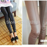 Wholesale Fashion Leather Patchwork Legging Super Repair Ankle Length Black Trousers Faux Leather pants NEW SALE
