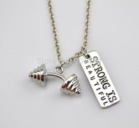 beautiful weight loss - weight loss fitness necklace a sports Dumbbell charm and Strength is beautiful Necklace