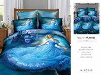 anna quilt - 3D Cinderella Bedding Set Bedding Sets Elsa Anna Bedclothes Quilt Cover Bed Line Set Cartoon Kids Grey Frozen Duvet Covers Sets