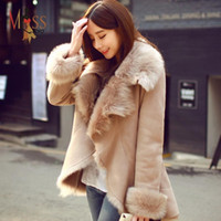 Wholesale Short Leather Jackets For Ladies - 2016 new fashion autumn winter women's casual street faux fur coat camel short warm leather jacket for lady