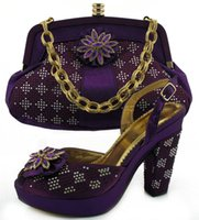 Wholesale Ladies crystal wedding dress shoes with matching evening bag in PURPLE RED ROYAL BLUE SIER YELLOW Chunky heel sandals n shoulder bag