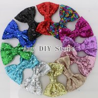 baby hairpin - lot4 Embroidered Sequin Hair Bows Baby Girls Boutique Sequined Knot Glitter Hair Bows Hair Accessories HJ070