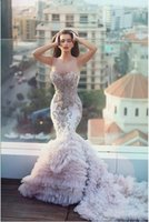 Wholesale 2016 Said Mhamad Sexy Beaded Ruffles Scoop Arabic Mermaid Wedding Dresses Sleeveless With Applique Beads Cathedral Train Tulle Bridal Gowns