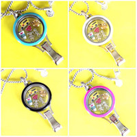 Wholesale Colored Stainless Steel Pendants - 2016 Hot Sale Stainless Steel Colored Twist Lanyard Locket with 6 Charms One 80cm Chain for yiwu fair FF191