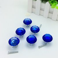 glass drawer pulls - 10pcs Dark Blue Color mm Diamond Shape Crystal Glass Pull Handle Cupboard Cabinet Drawer Door Furniture Knob Wholesales