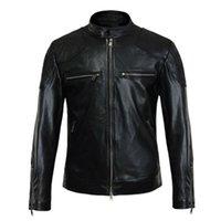 Wholesale Fall Beckham Men Genuine Leather Jackets Harley Coat Sobretudo Rock Jaqueta De Couro Masculina Motorcycle Jacket Biker Jacket