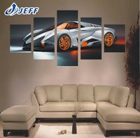 Wholesale Wall Art Picture Gift Unframed Panel Cool Silvery White Car Sports Car Large HD Top Rated Canvas Print Painting For Living Room