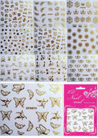 assorted nail decals - New Fashion Sheets Assorted Feather amp Crown amp Butterlfy Gold Colors D Nail Art Stickers Finger Decals For