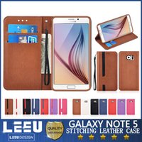 Cheap note5 wallet cases with card pocket Best s6 edge plus leather case cash card slot