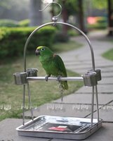 Wholesale Gaiolas Decorativas Hot Sale Stainless Steel Parrot Stand Holder Bird Cage Shelf Rack Contains Bangle portable