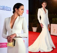 beauty celebrity - Custom Made Vintage Long Sleeves Satin Mermaid Formal Evening Gown Beauty Celebrity Red Carpet Dresses