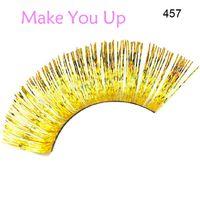 ball extension - Handmade Golden Eyelashes Glitter False Eyelash Extension for Custume Ball Party Salon Makeup Tool Freeshipping