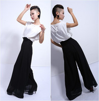 Cheap Freeshipping 2015 Summer New Arrival 150D Chiffon High-Waisted Ultra-wide-leg Trousers Palazzo Pants with White European Style Blouse
