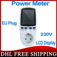 Wholesale 50pcs EU Plug Monitor Analyzer Power Energy Meter Wattage Voltage Current Frequency Power Factor LCD Display