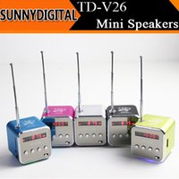 Wholesale Portable TF Card Mini Speaker TD V26 LED Light Speakers with Display Screen Support U Disk FM Subwoofers Sound Box Music MP3 Player Xmas