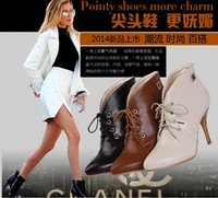 Cheap Hot! Women's pointy toe ankle boots women fashion sexy stiletto boots Martin boots black beige brown straps