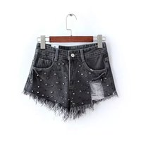 achat en gros de punk rock perlage-ZV05 Mode 2016 Femmes Punk Rock Style Black Denim Perler Shorts Rivet Ripped Zipper Tassel Pocket Streetwear Marque Plus Size