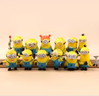 best baby doll - 12pcs set Despicable Me Minion Toys D Eye Anime Cartoon Minions PVC Action Figure Best Kid Brinquedos Baby Doll