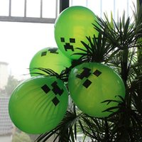Wholesale Minecraft Creeper Balloons New Christmas Gift Decoration Balloon Toys Cartoon Enderman inch Party material Purple eyes Factory Price DHL
