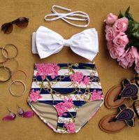 bandeau swimwear sale - 2015 HOT SALE RETRO Pinup Bow Tie Bandeau Vintage High Waist Bikini Swimsuit Swimwear Plus Size S M L XL