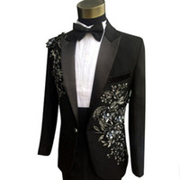 Wholesale Mens Sequin Suit New Arriva Plus Size High Quality Trajes Hombre Wedding Suit For Men Prom Stage Costums Terno Masculino