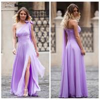 beautiful evening dresses online - Beautiful One Shoulder Chiffon Lavender Front Slit Bridesmaids Dresses Custom Online Lavender Formal Women Prom Evening Dresses Spring
